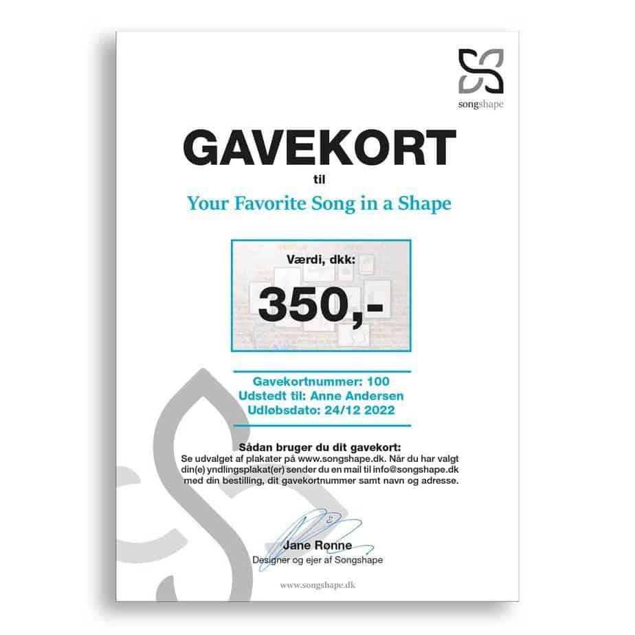 Songshape gavekort - Giv en personlig gave
